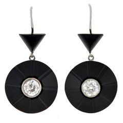 Art Deco Carved Onyx & Diamond Earrings 1.50ctw