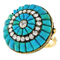 Antique Persian Turquoise and Diamond Set Gold Ring