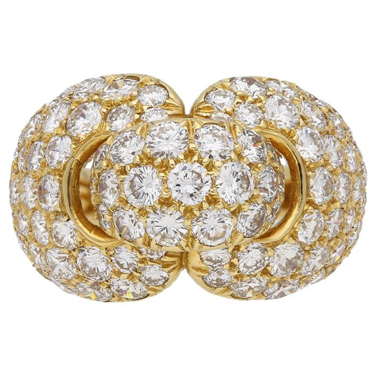 Boucheron Diamond and Yellow Gold Dress Ring For Sale