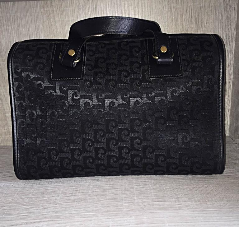 Rare Vintage Pierre Cardin Black ' Speedy ' Handbag Bag Signature Purse Satchel 4