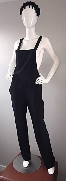 Women's Rare Late 90s Tom Ford for Gucci Size 42 / 8 / 10 Black Silk Jumpsuit Racerback For Sale