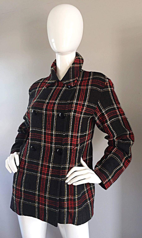Vintage Isaac Mizrahi For Bergdorf Goodman Tartan Plaid Wool Jacket Coat For Sale At 1stdibs