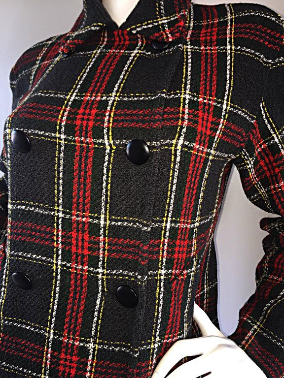 Vintage Isaac Mizrahi for Bergdorf Goodman Tartan Plaid Wool Jacket / Coat 8