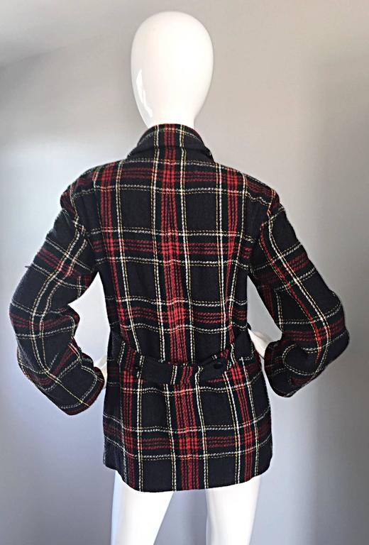 Vintage Isaac Mizrahi for Bergdorf Goodman Tartan Plaid Wool Jacket / Coat 6