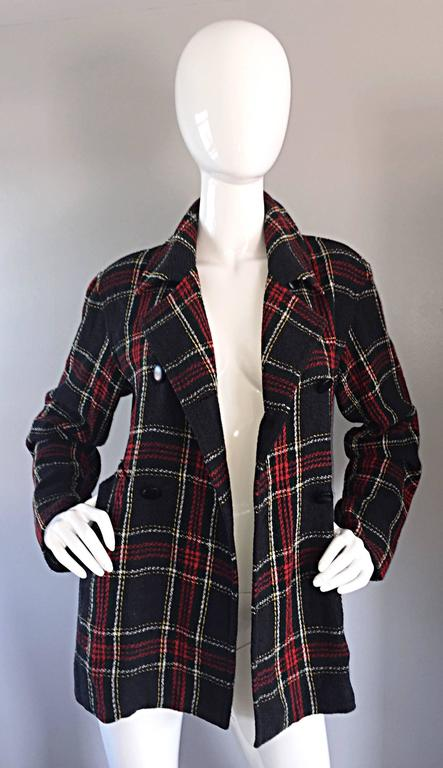 Vintage Isaac Mizrahi for Bergdorf Goodman Tartan Plaid Wool Jacket / Coat 2