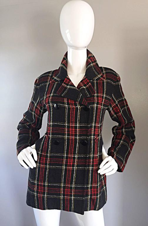 Vintage Isaac Mizrahi for Bergdorf Goodman Tartan Plaid Wool Jacket / Coat 7