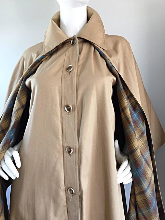 Vintage Yves Saint Laurent ' Rive Gauche ' 1970s Khaki Plaid Cape Trench Jacket 8