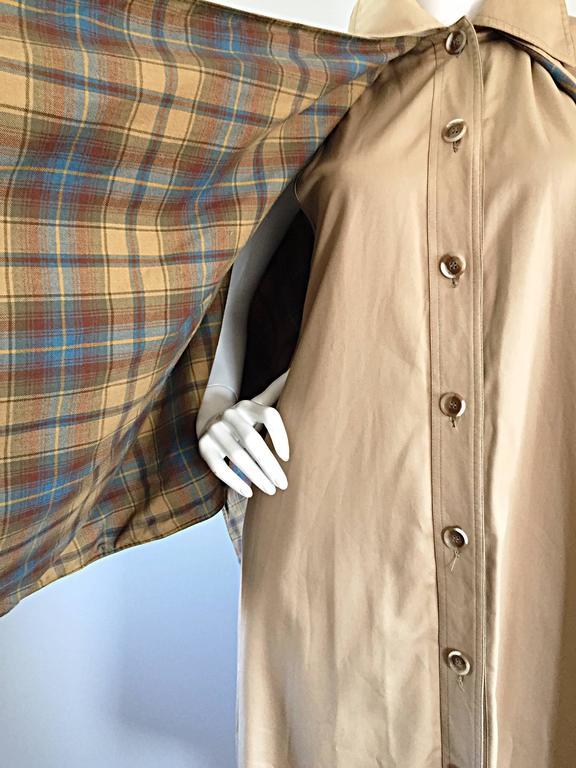 Vintage Yves Saint Laurent ' Rive Gauche ' 1970s Khaki Plaid Cape Trench Jacket 9