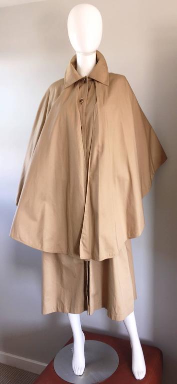 Vintage Yves Saint Laurent ' Rive Gauche ' 1970s Khaki Plaid Cape Trench Jacket 3