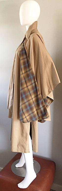 Vintage Yves Saint Laurent ' Rive Gauche ' 1970s Khaki Plaid Cape Trench Jacket 5