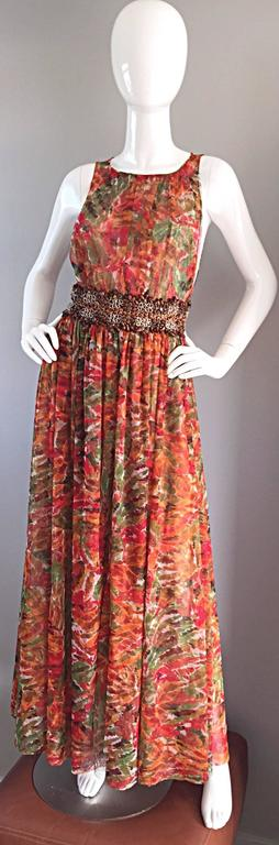 1990s Oscar de la Renta $5,800 Beautiful Watercolor Boho Maxi Dress Wooden Beads 2