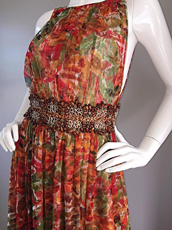 1990s Oscar de la Renta $5,800 Beautiful Watercolor Boho Maxi Dress Wooden Beads 6