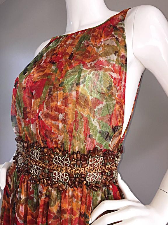 1990s Oscar de la Renta $5,800 Beautiful Watercolor Boho Maxi Dress Wooden Beads 7