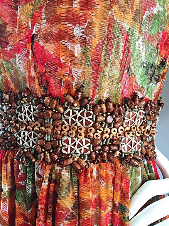 1990s Oscar de la Renta $5,800 Beautiful Watercolor Boho Maxi Dress Wooden Beads 8