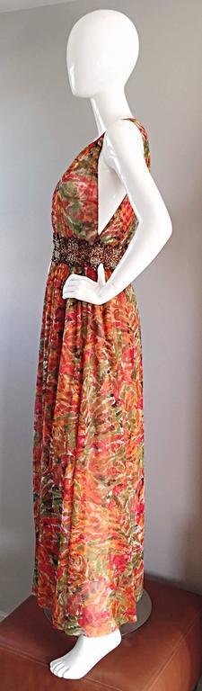 1990s Oscar de la Renta $5,800 Beautiful Watercolor Boho Maxi Dress Wooden Beads 9