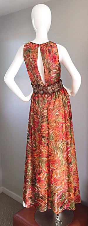 1990s Oscar de la Renta $5,800 Beautiful Watercolor Boho Maxi Dress Wooden Beads 3