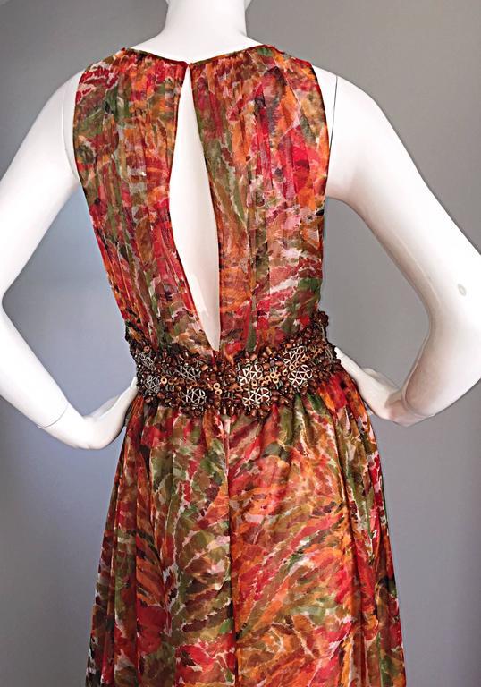 1990s Oscar de la Renta $5,800 Beautiful Watercolor Boho Maxi Dress Wooden Beads 5