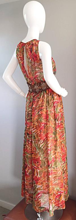 1990s Oscar de la Renta $5,800 Beautiful Watercolor Boho Maxi Dress Wooden Beads 4