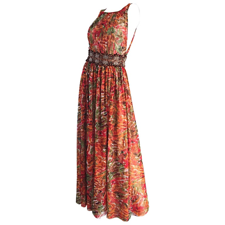1990s Oscar de la Renta $5,800 Size 6 / 8 Watercolor Boho Gown Dress Wooden Bead