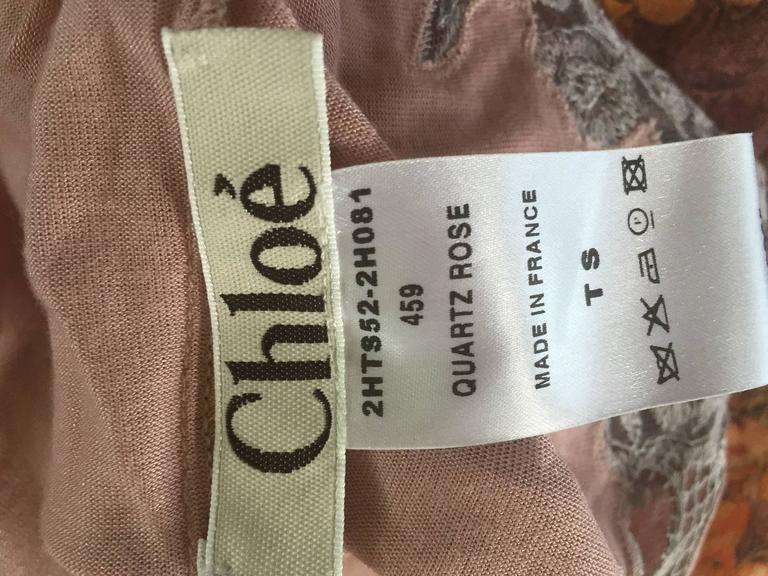 Phoebe Philo for Chloe Pink + Gray Blouse w/ Beautiful Lace Detail 8