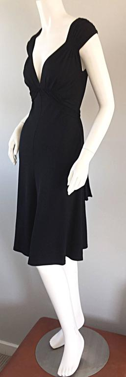 Michael Kors Collection Black Cap Sleeve Jersey Little Black Dress Size 8 LBD 4