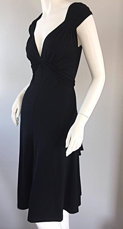 Michael Kors Collection Black Cap Sleeve Jersey Little Black Dress Size 8 LBD 8