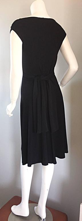 Michael Kors Collection Black Cap Sleeve Jersey Little Black Dress Size 8 LBD 9