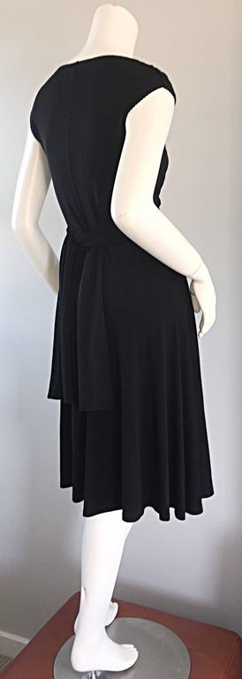 Michael Kors Collection Black Cap Sleeve Jersey Little Black Dress Size 8 LBD 5