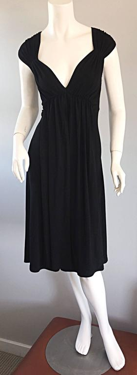 Michael Kors Collection Black Cap Sleeve Jersey Little Black Dress Size 8 LBD 3
