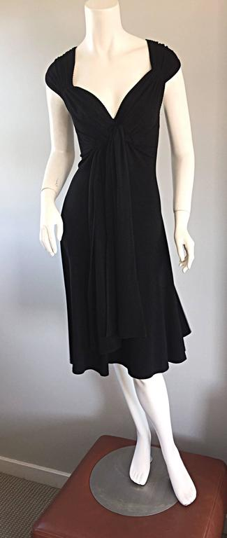 Michael Kors Collection Black Cap Sleeve Jersey Little Black Dress Size 8 LBD 6