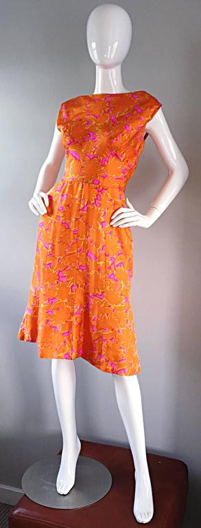 1960s Vintage Bright Orange + Hot Pink A Line Flower Psychedelic 60s Silk Dress 6