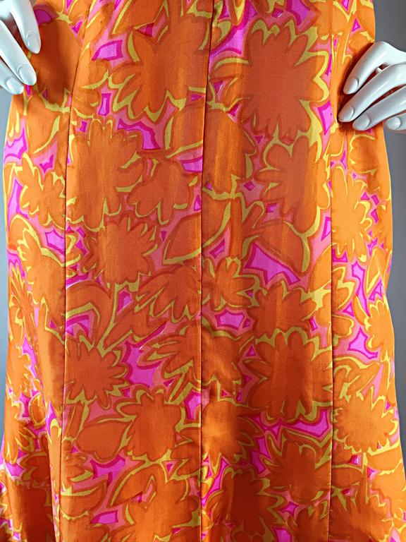 1960s Vintage Bright Orange + Hot Pink A Line Flower Psychedelic 60s Silk Dress 10