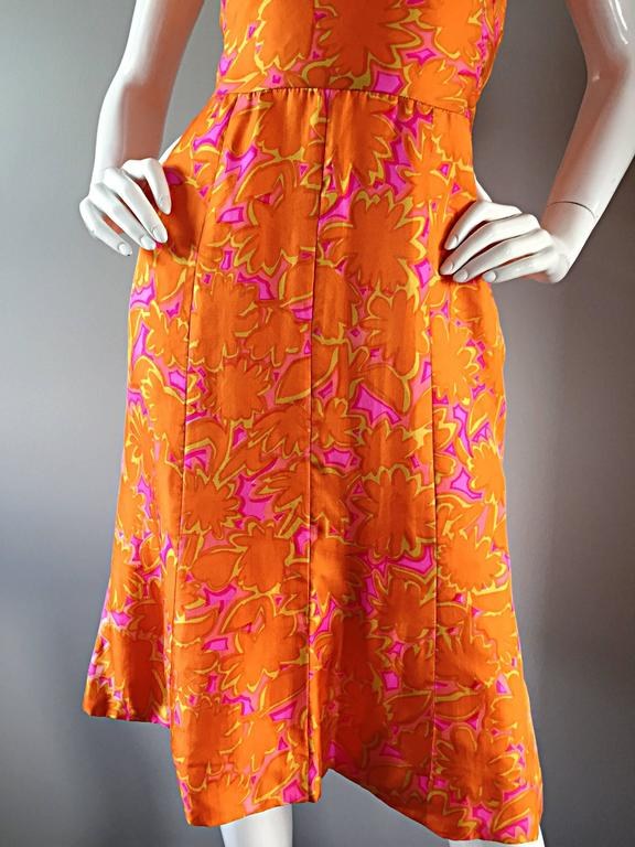 1960s Vintage Bright Orange + Hot Pink A Line Flower Psychedelic 60s Silk Dress 8