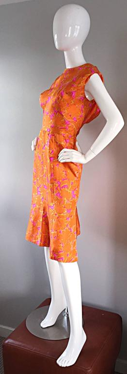 1960s Vintage Bright Orange + Hot Pink A Line Flower Psychedelic 60s Silk Dress 5