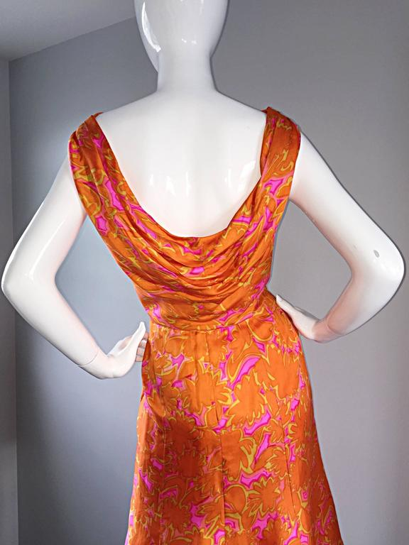 1960s Vintage Bright Orange + Hot Pink A Line Flower Psychedelic 60s Silk Dress 7