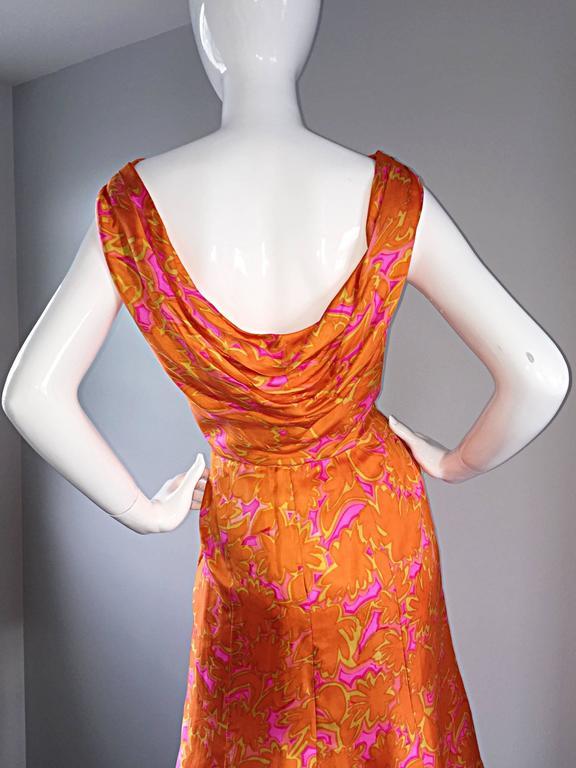 1960s Vintage Bright Orange + Hot Pink A Line Flower Psychedelic 60s Silk Dress For Sale 3