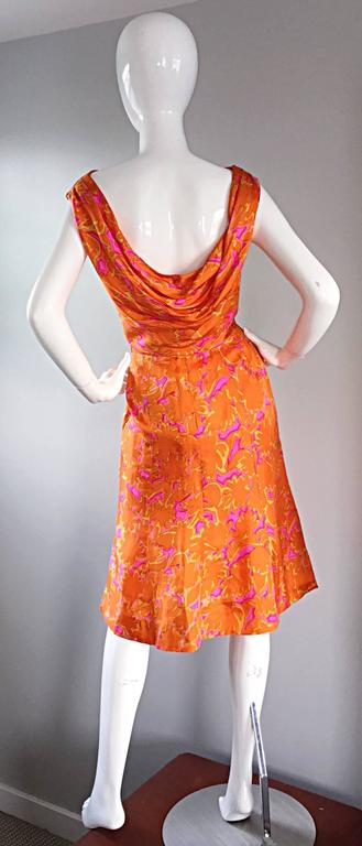 1960s Vintage Bright Orange + Hot Pink A Line Flower Psychedelic 60s Silk Dress 3