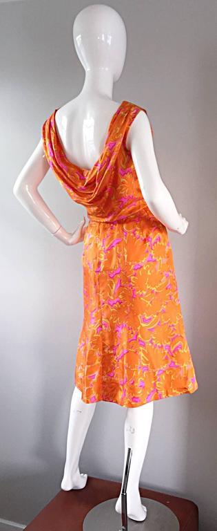 Women's 1960s Vintage Bright Orange + Hot Pink A Line Flower Psychedelic 60s Silk Dress For Sale