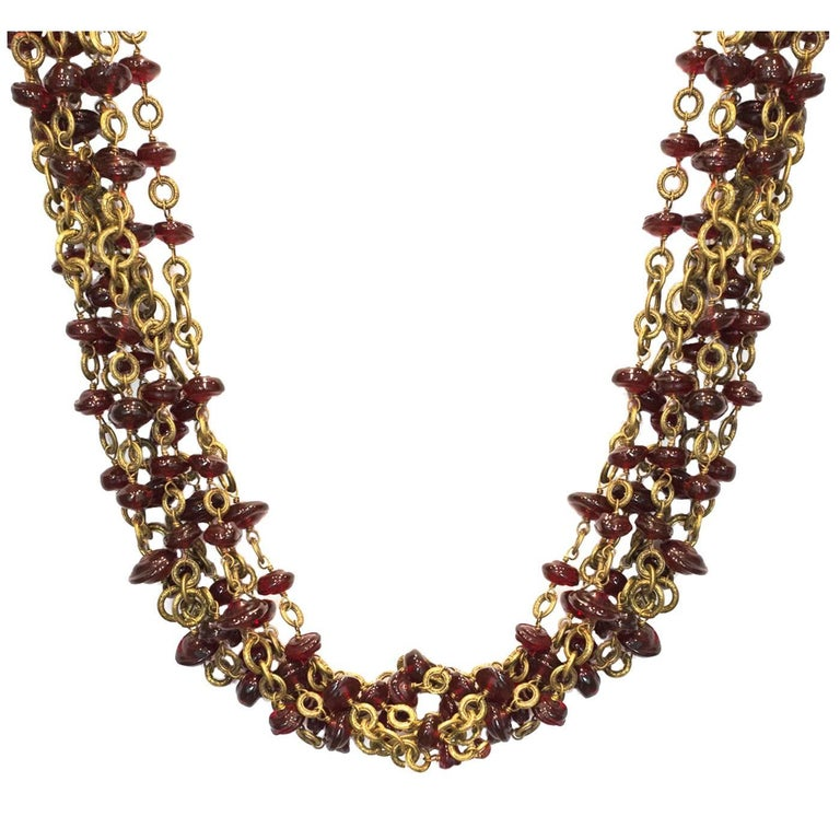 Chanel Vintage '84 Multi-Strand Red Gripoix Necklace