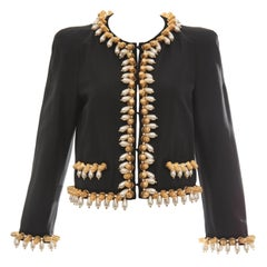 Jeremy Scott for Moschino Black Cotton Silk Jacket With Thimble Pearl Adornments