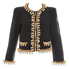 Jeremy Scott For Moschino Black Jacket With Thimble And Pearl Adornments