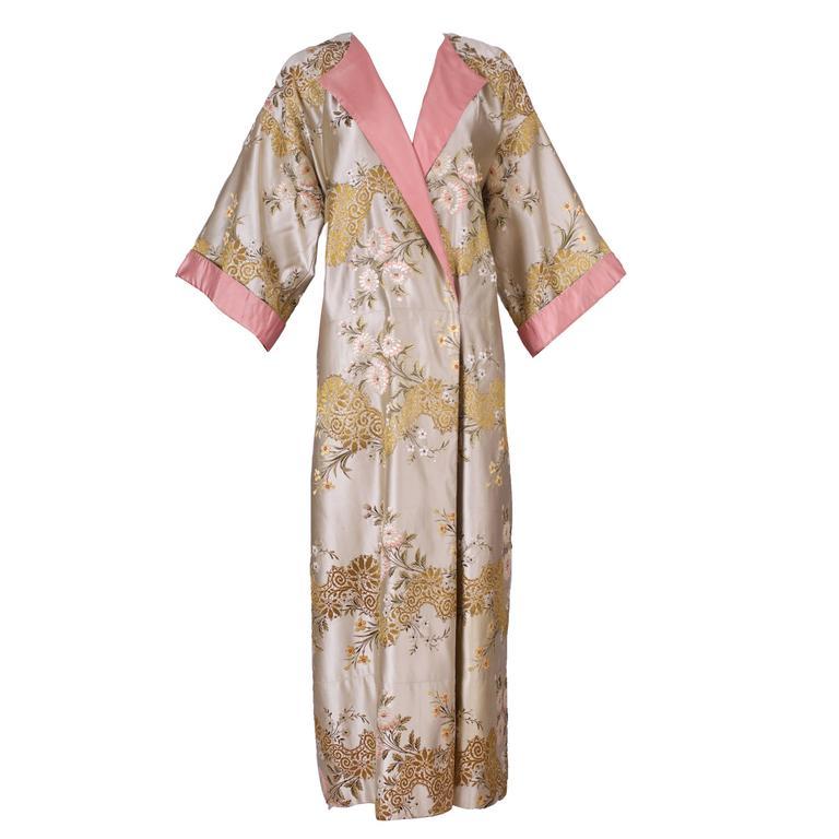 Madame Gres Haute Couture Silk Satin Embroidered Kimono Evening Dress Ca.1960 For Sale