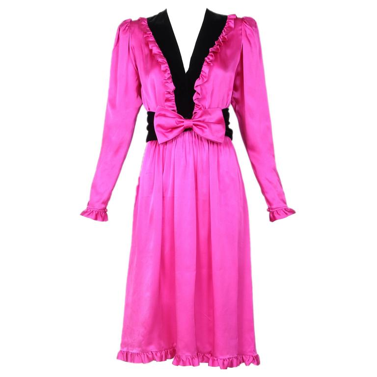 Yves Saint Laurent YSL Fuschia Silk Dress w/Velvet Deep V-Neck & Ruffled Trim
