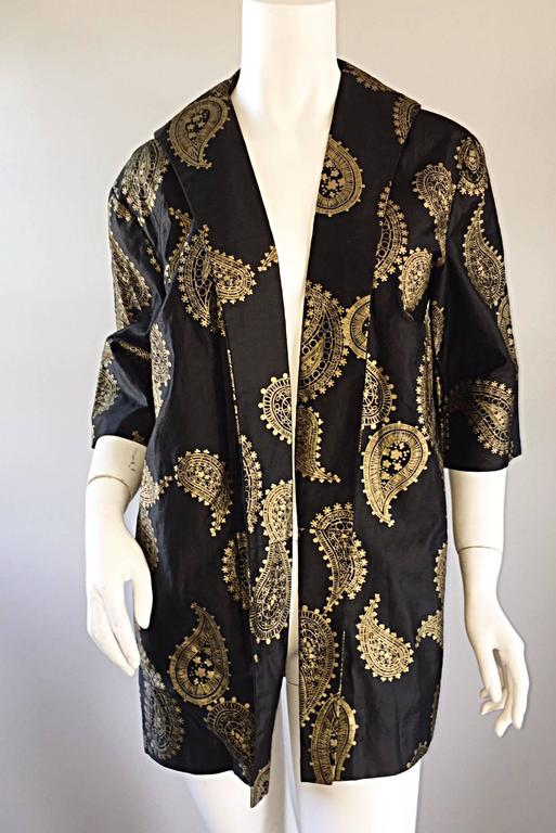 Rare 1950s Alfred Shaheen Vintage 50s Black And Gold Hand Printed Kimono Jacket For Sale 2