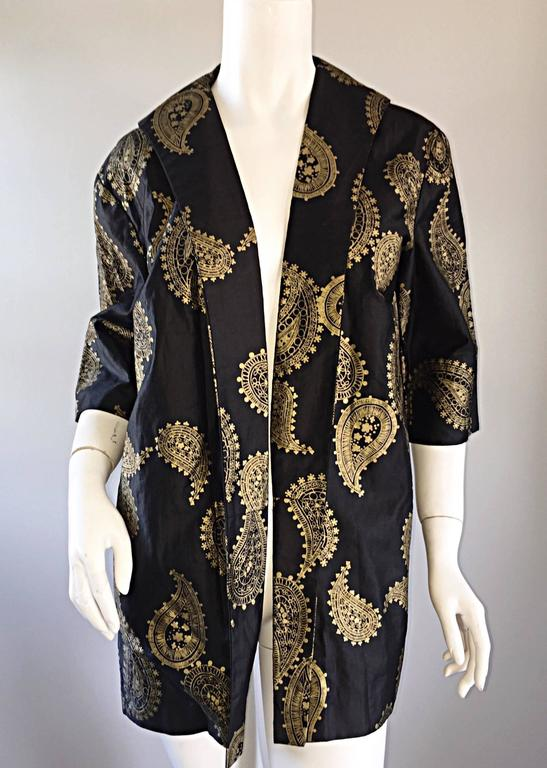 Rare 1950s Alfred Shaheen Vintage 50s Black And Gold Hand Printed Kimono Jacket For Sale 3