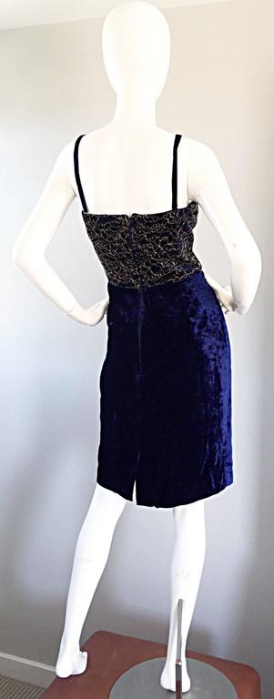 Black Beautiful New Luca Luca Royal Blue + Gold Velvet And Lace Cocktail Dress NWT For Sale