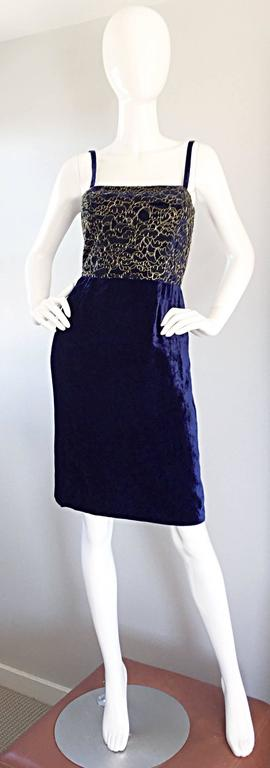 Beautiful LUCA LUCA Couture cocktail dress! Stunning royal blue crushed velvet, with striking french lace at bodice, etched in metallic gold. Brand new, with tags--Retailed for $890 in the early 2000s. Chic babydoll fit, with flattering pleats at
