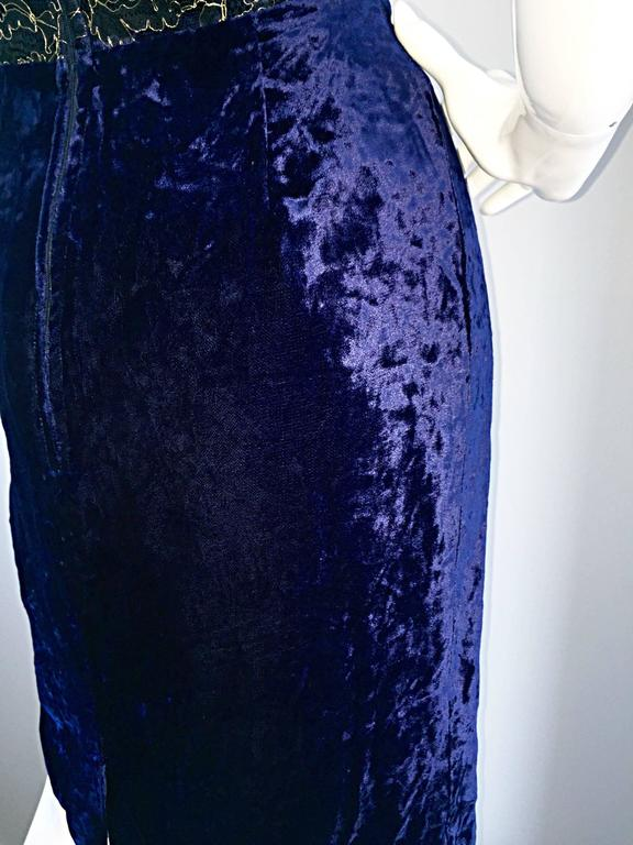 Beautiful New Luca Luca Royal Blue + Gold Velvet And Lace Cocktail Dress NWT For Sale 3