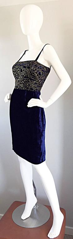 Beautiful New Luca Luca Royal Blue + Gold Velvet And Lace Cocktail Dress NWT In New Condition For Sale In Chicago, IL