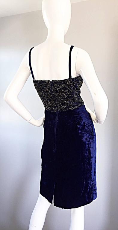Beautiful New Luca Luca Royal Blue + Gold Velvet And Lace Cocktail Dress NWT For Sale 2